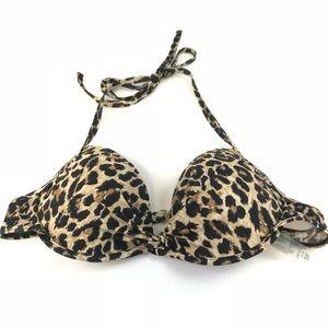 Victoria's Secret 34B Bikini Top Halter Leopard